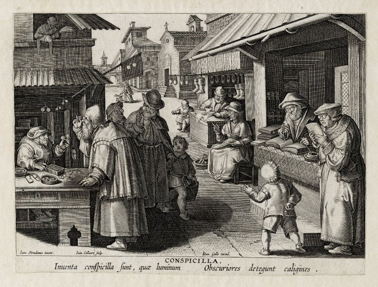 an engraving of a street scene of wearers and a seller of eyeglasses (ca. 1600)