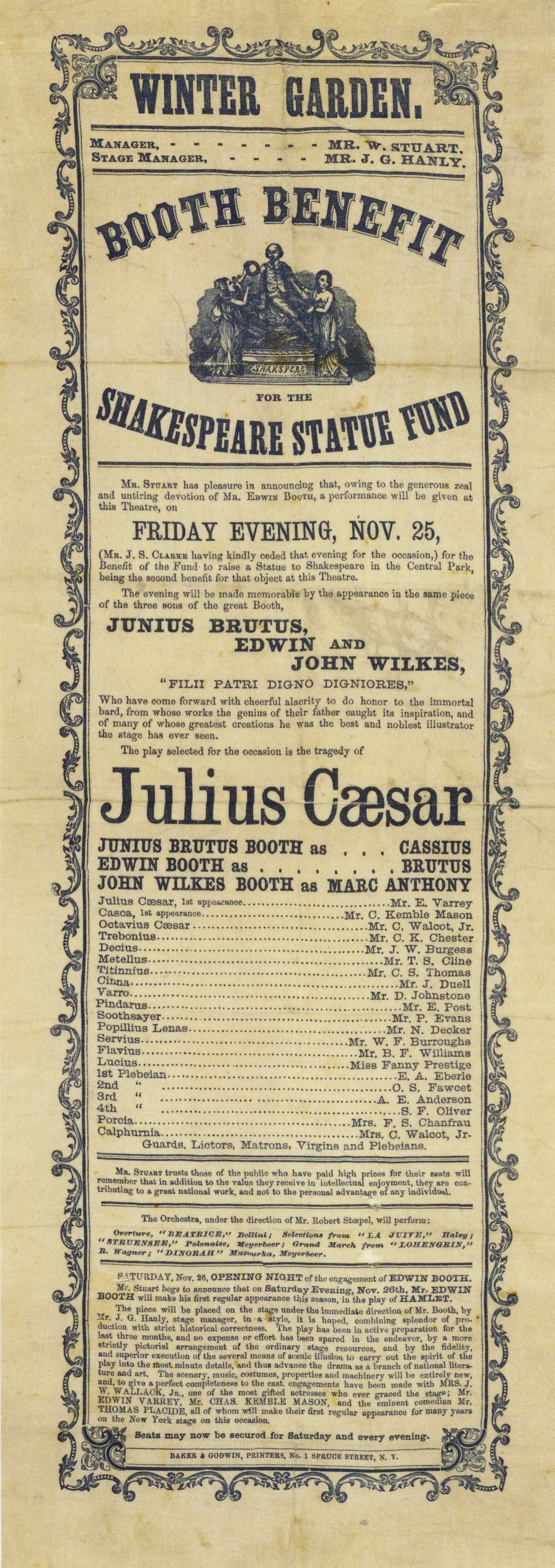 Playbill for a production of Julius Caesar in Central Park, starring the Booth Brothers, 1865