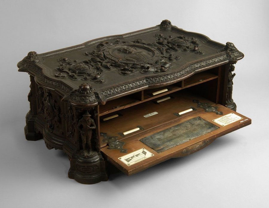 The carved oak casket built to house Folger First Folio 5
