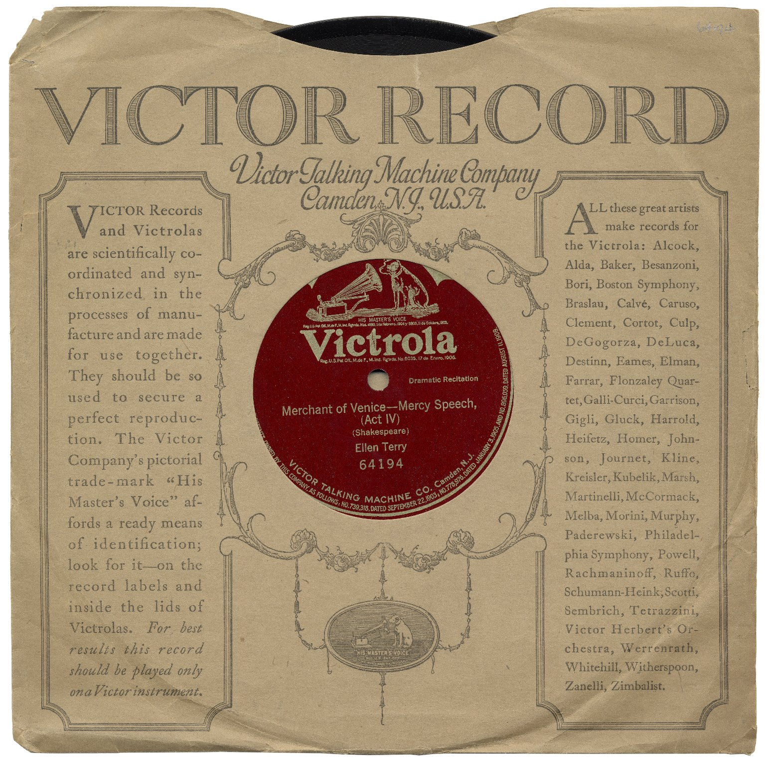 Victrola Record of Merchant of Venice