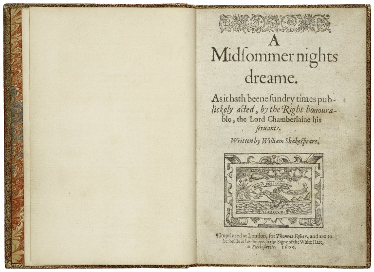 The title page of the first quarto of A Midsummer Night's Dream