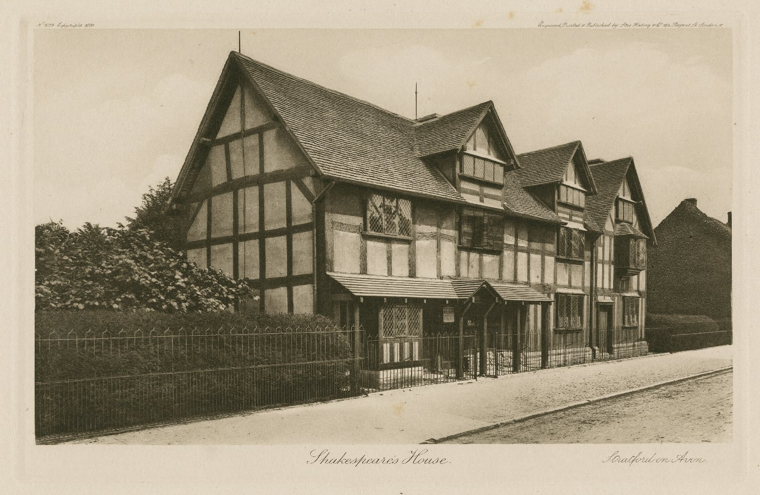 1896 print of Shakespeare's birthplace by Stas Waley & Co.