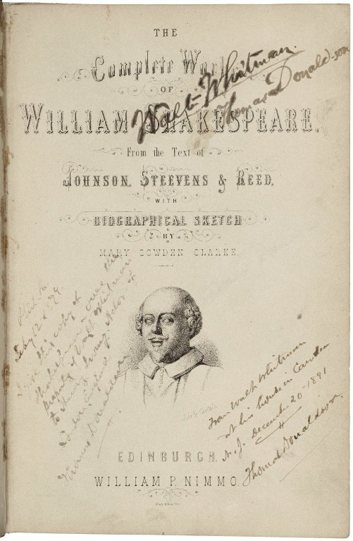 Walt Whitman's signed copy of the Complete Works of Shakespeare