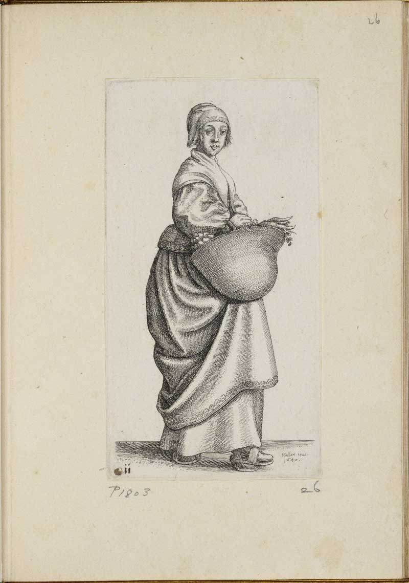 Wenceslaus Hollar, Kitchen –maid carrying a Basket, in Ornatus muliebris Anglicanus, or, The severall habits of English women, from the nobilitie to the contry woman, as they are in these times. London: 1640. STC 13599.5