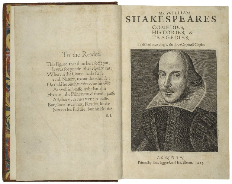 Title page of William Shakespeare's First Folio