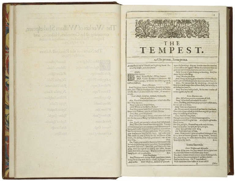Opening of The Tempest in William Shakespeare's First Folio
