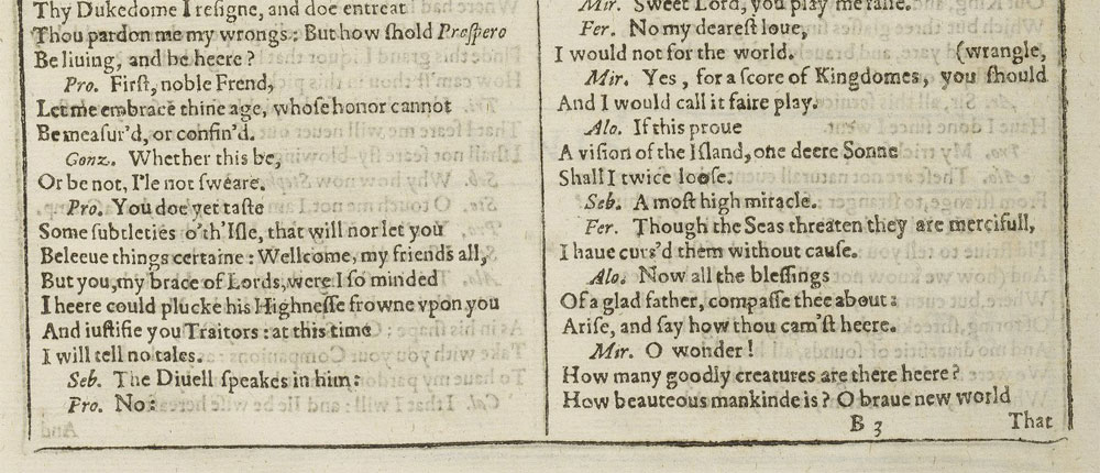 A page from the First Folio showing a famous phrase from The Tempest