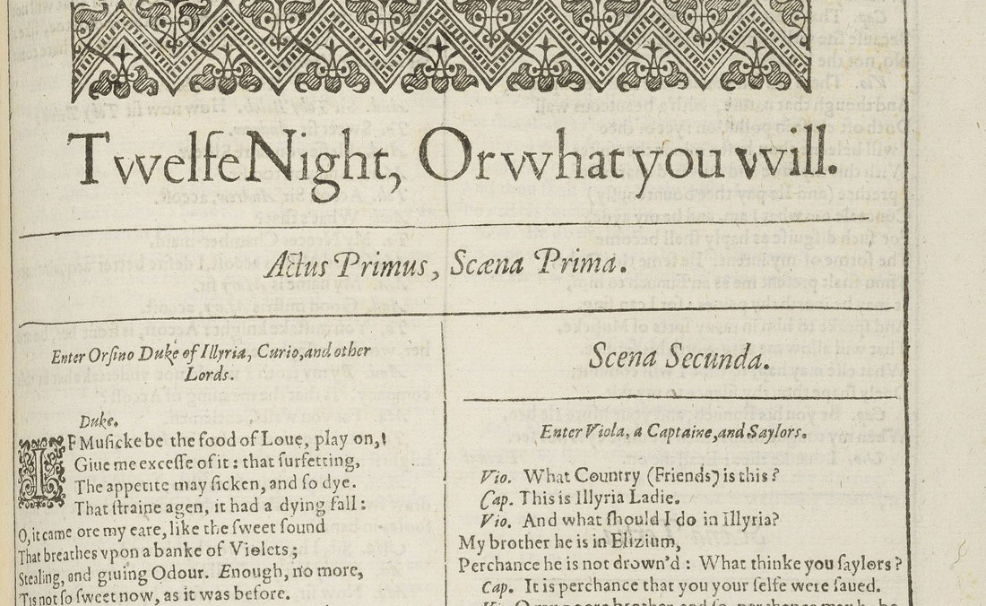 The first page of Twelfth Night in the First Folio