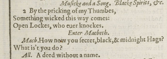 A page from the First Folio showing a famous line from Macbeth