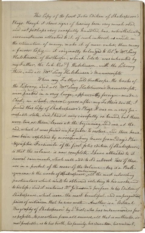 First page of four-page Hutchinson family account bound into Folger First Folio 54