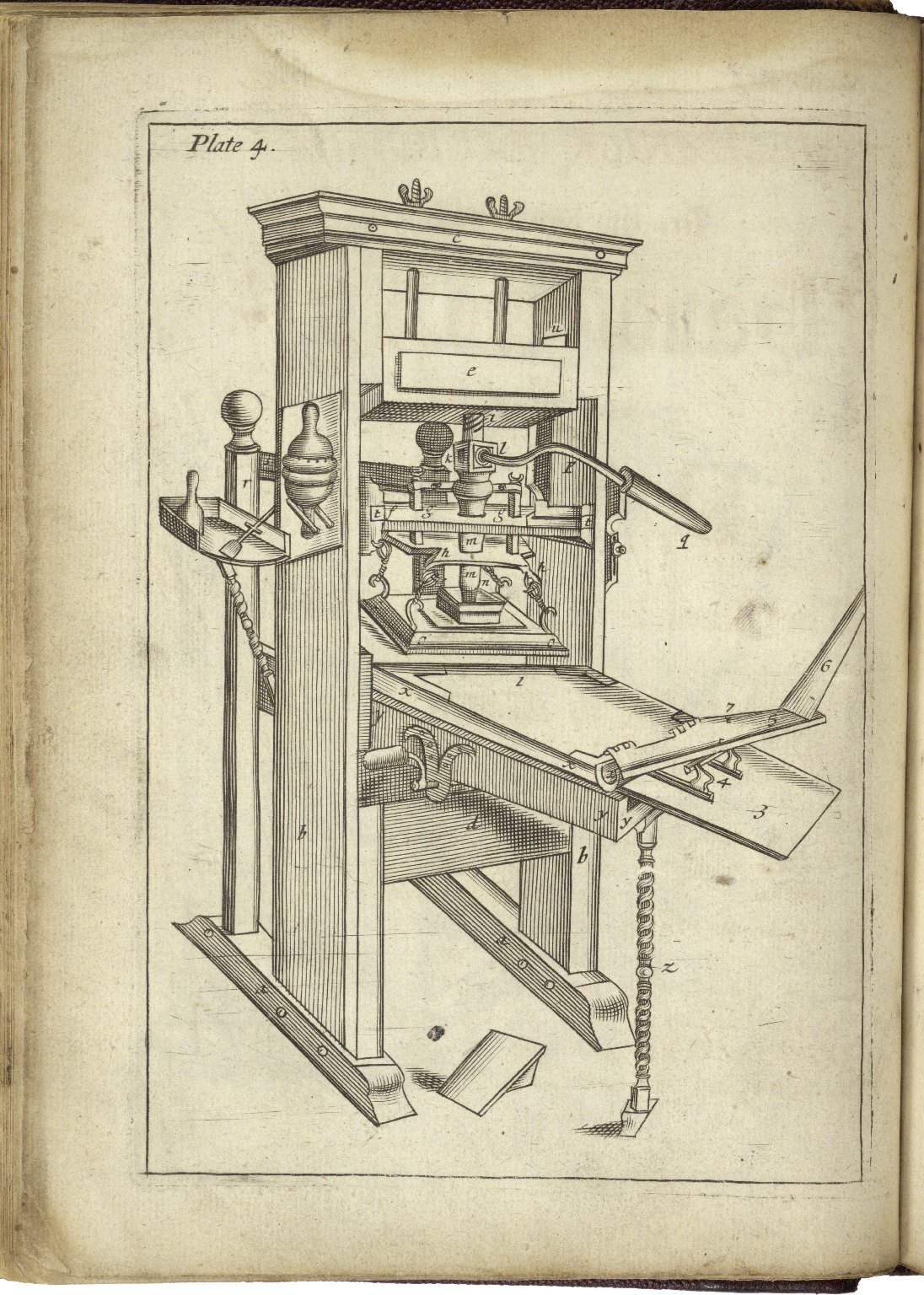 Printing Press from Moxon's Mechanick Exercises