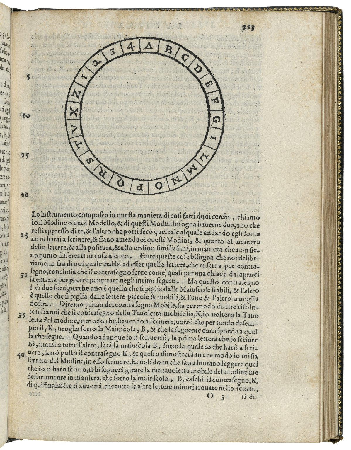 page 213 in Opuscoli morali, with circle Alphabet