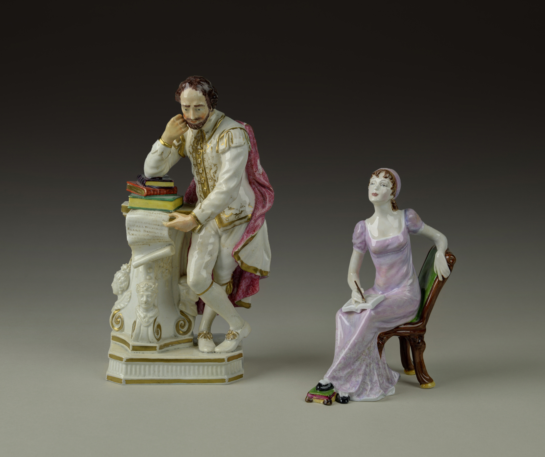 Porcelain figurine of William Shakespeare and Porcelain Figurine of Jane Austen