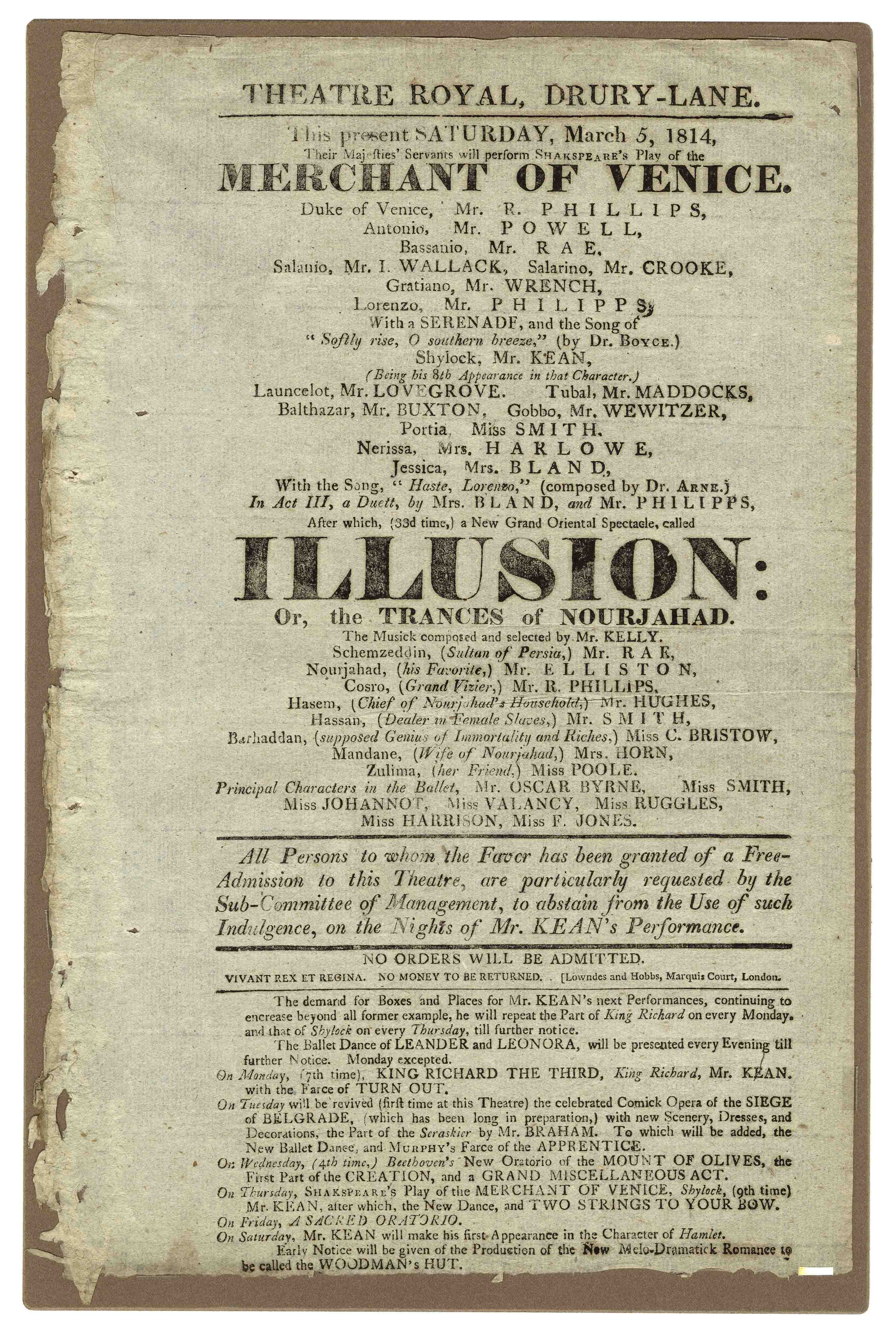 Playbill for Merchant of Venice  Drury Lane Theatre, March 5, 1814
