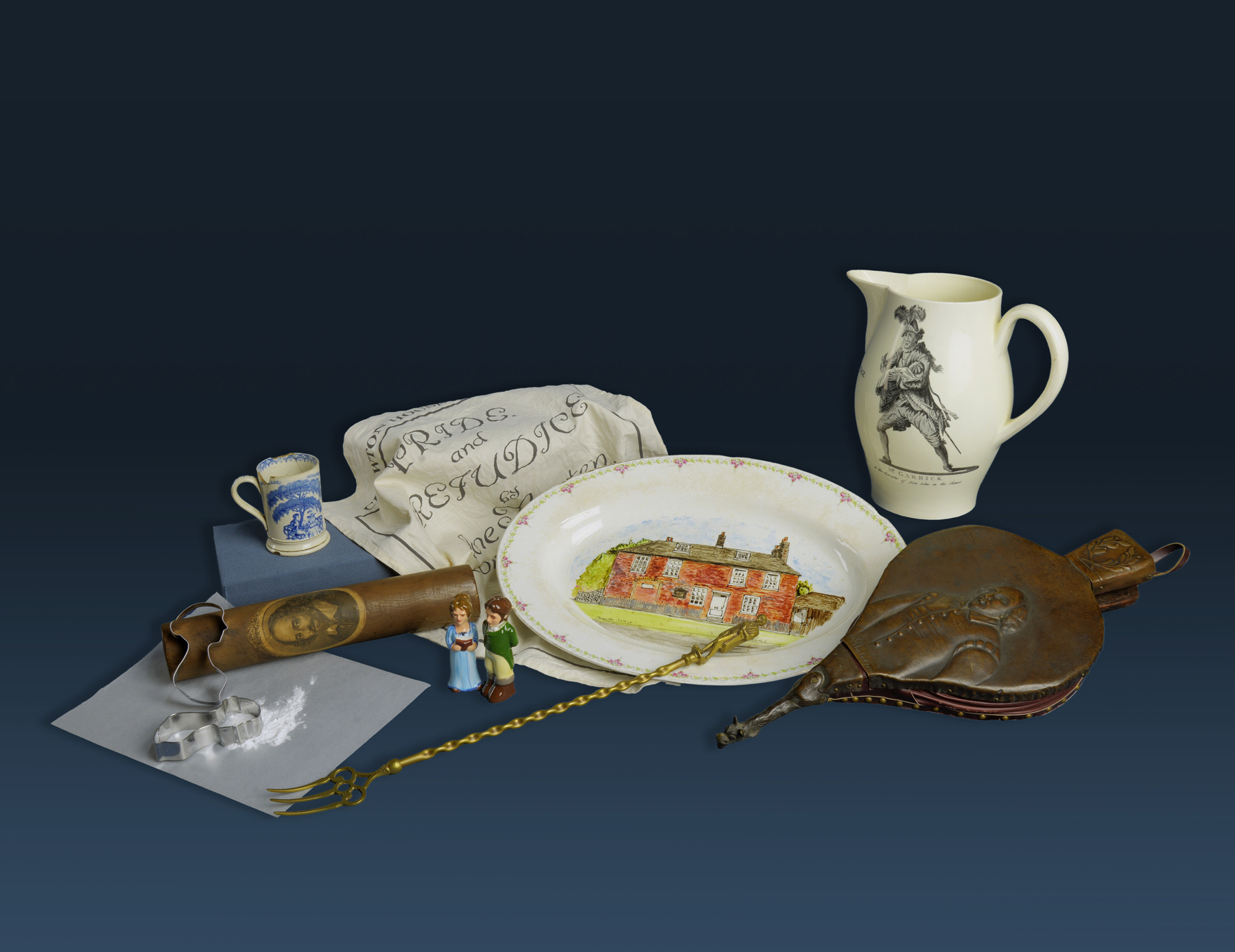 A collection of household items inspired by Shakespeare and Austen