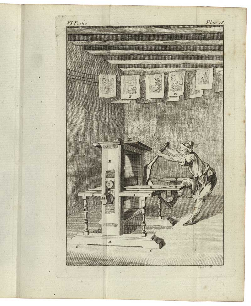 The printing of an intaglio image on a rolling press