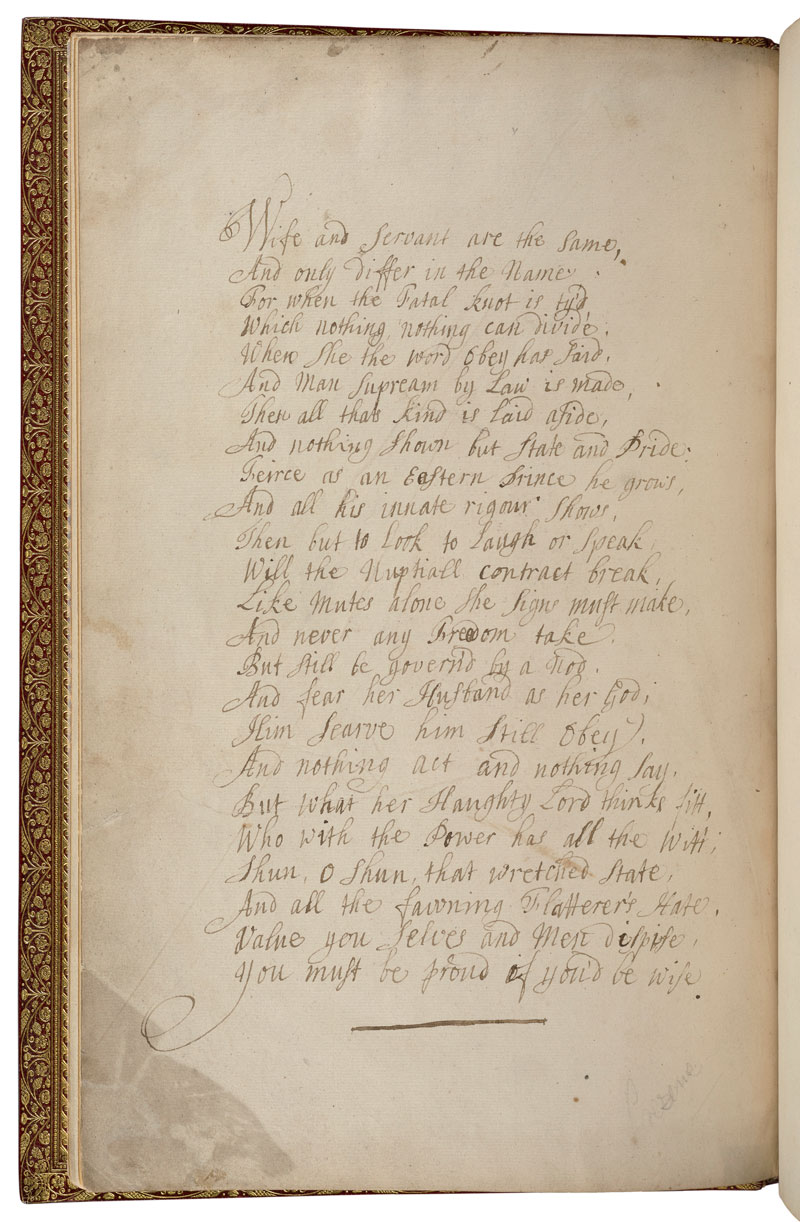 A handwritten poem beginning Wife and servant are the same