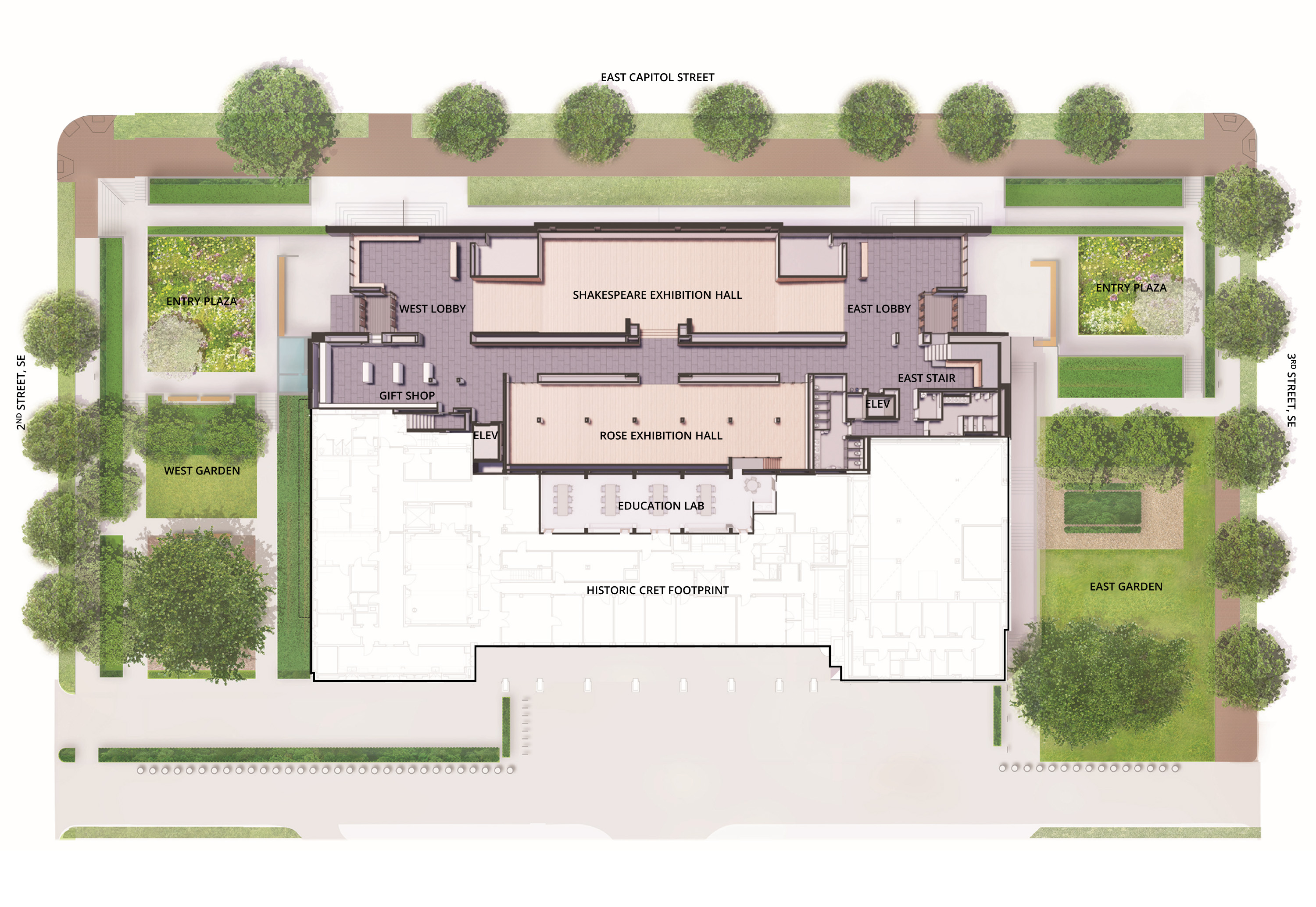 Rendering of building floor plan with entry plazas on the east and west