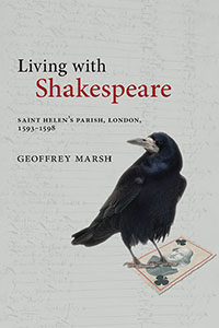 Book cover for Living with Shakespeare by Geoffrey Marsh. A crow stands on a playing card bearing a portrait of Shakespeare.
