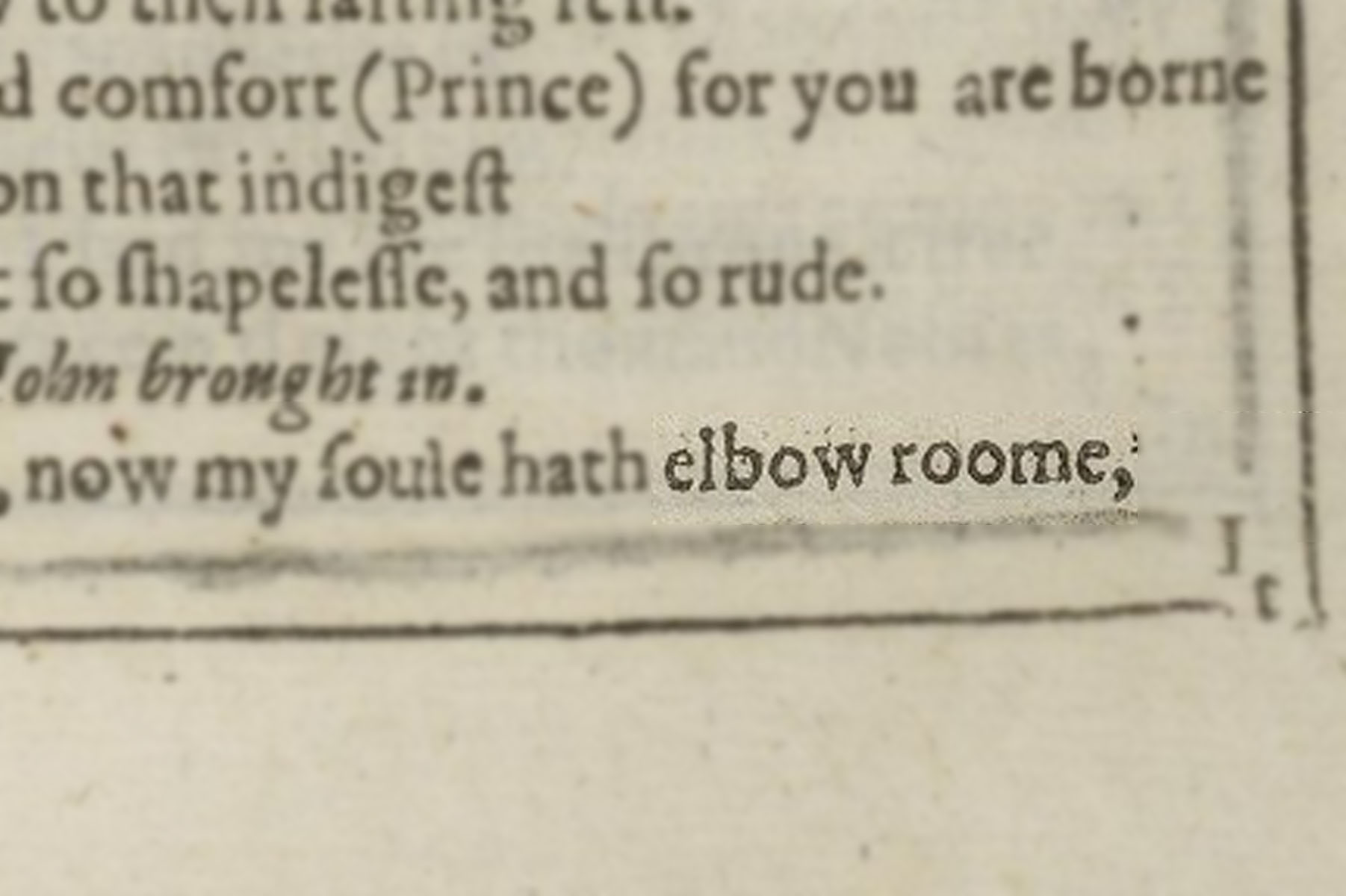 "Highlighted image of ""Elbow room"" in the text block of Shakespeare's First Folio."