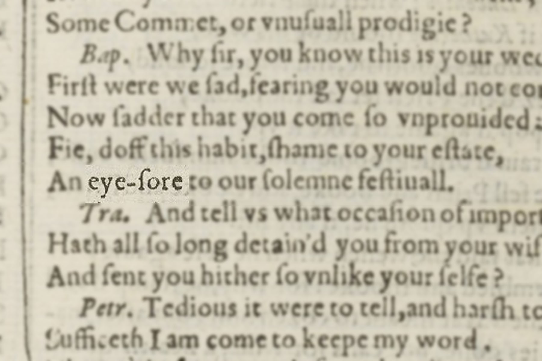 "Highlighted image of ""eyesore"" in the text block of Shakespeare's First Folio."