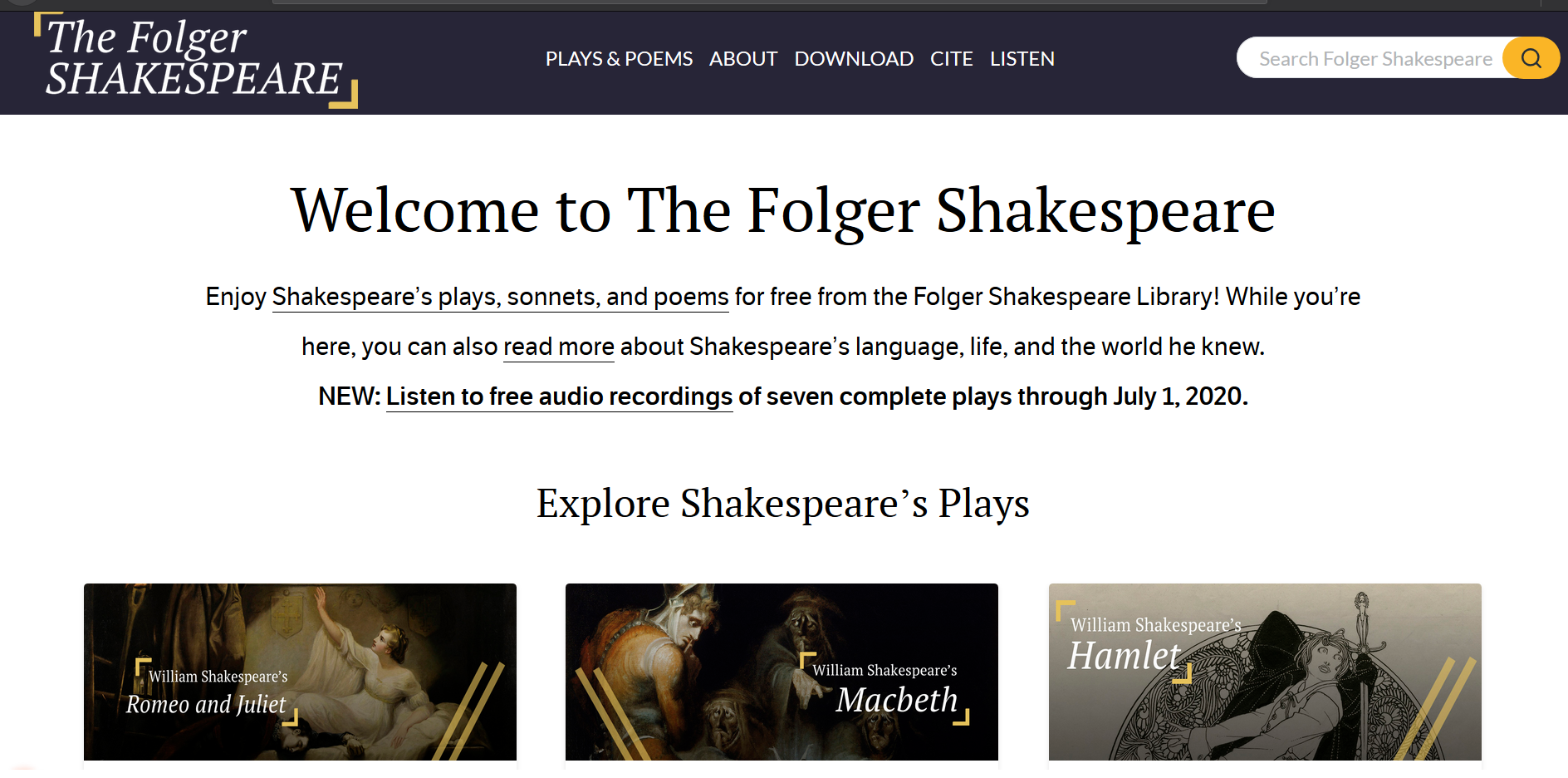 Screencapture of the homepage of The Folger Shakespeare at shakespeare.folger.edu