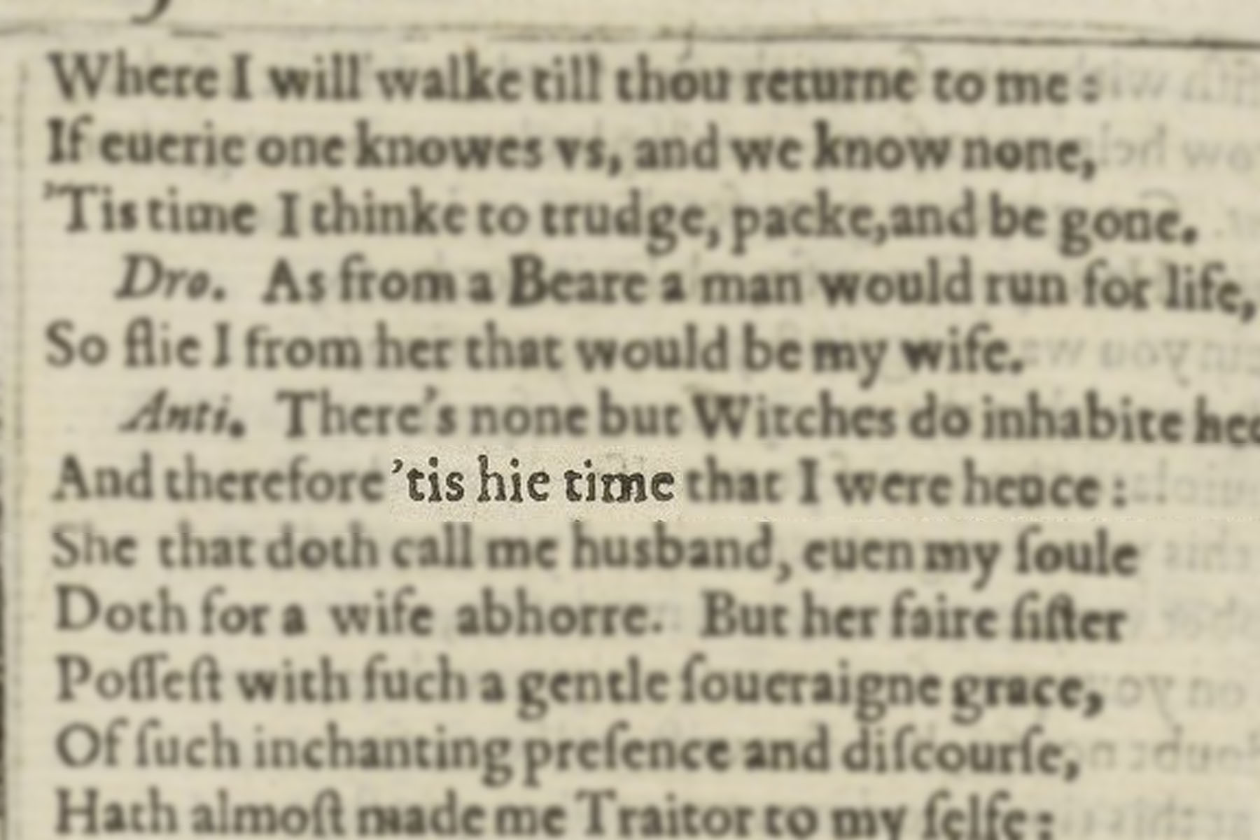 "Highlighted image of ""'tis high time"" in the text block of Shakespeare's First Folio."