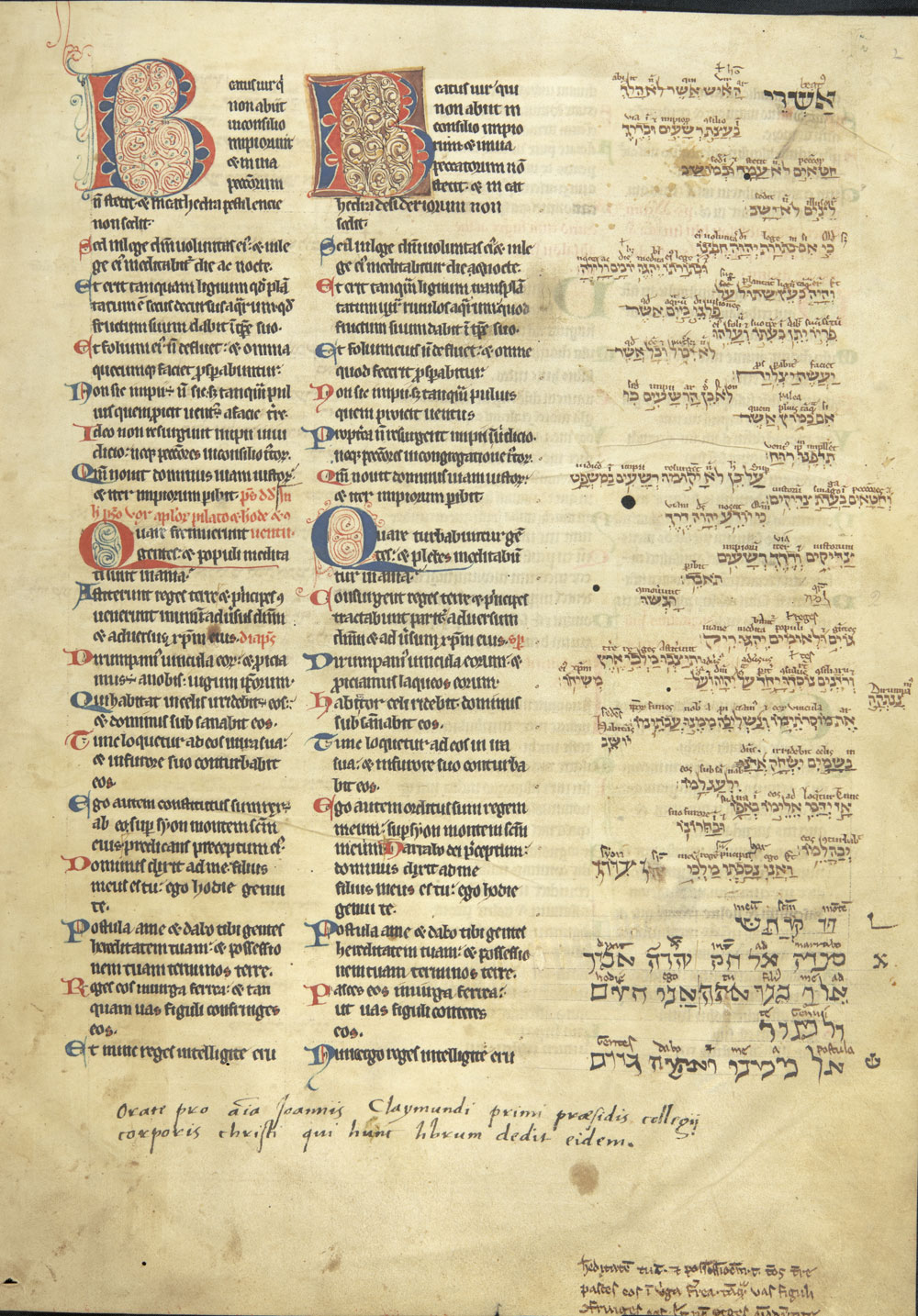 St. Jerome's Latin translation of the Psalms in Hebrew. Corpus Christi College.