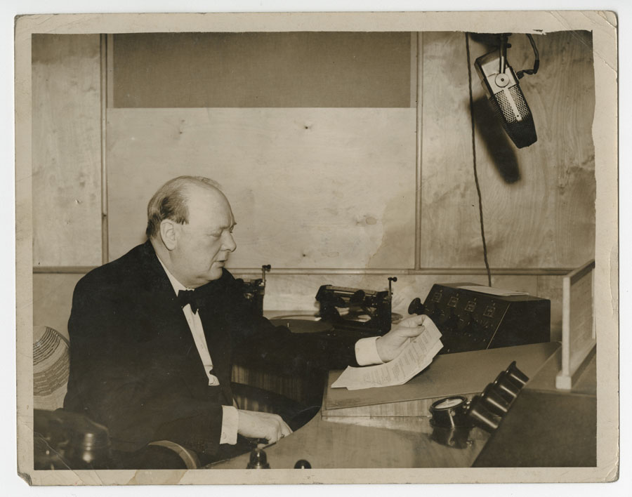 Photograph of Winston Churchill broadcasting a speech, 1939. Courtesy of the Churchill Archives Centre.