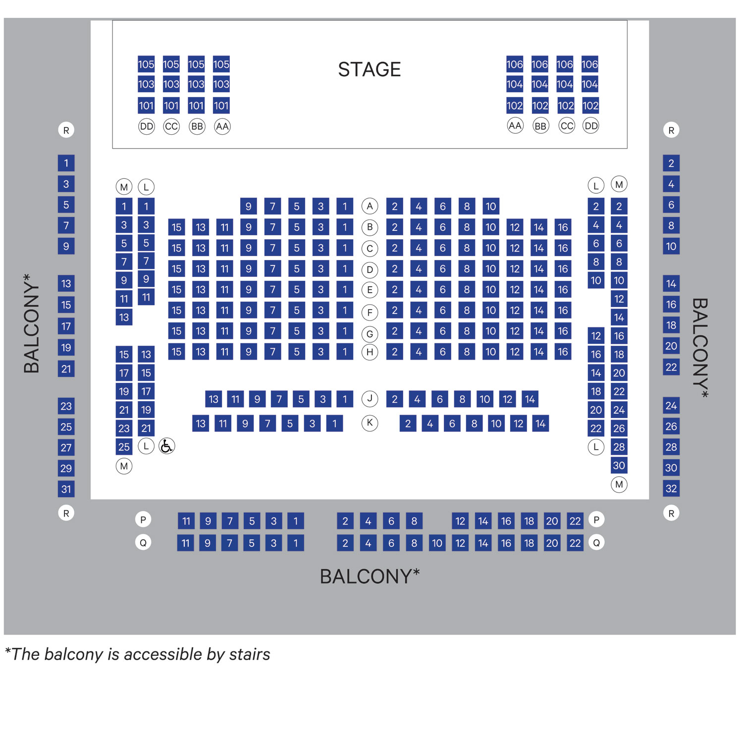 Seating for Saint Joan includes additional seating on stage Please see the special seating chart for locations