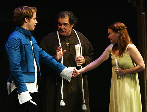 Graham Hamilton (Romeo), Edward Gero (Friar Lawrence), and Nicole Lowrance (Juliet), Romeo and Juliet, directed by PJ Paparelli, Folger Theatre, 2005. Photo by Carol Pratt.