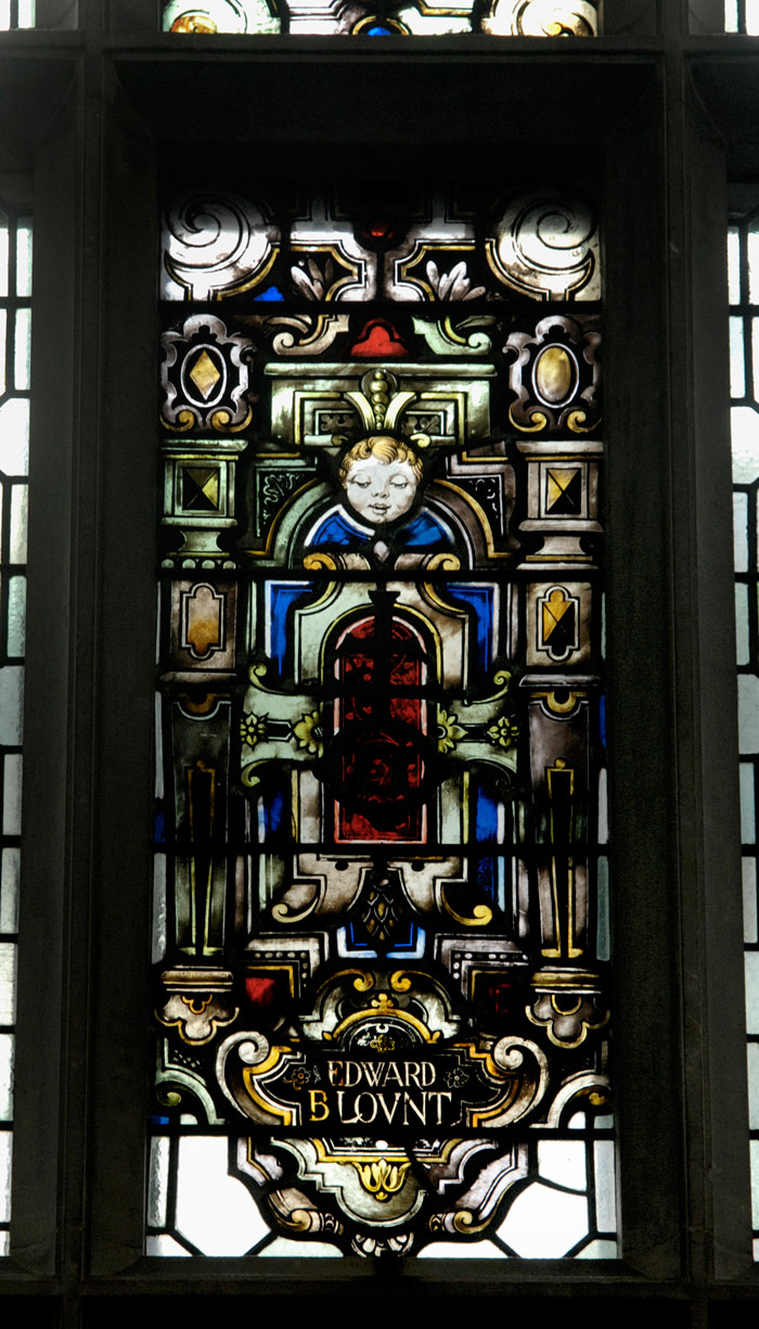 Stained-glass window with the name of Edward Blount