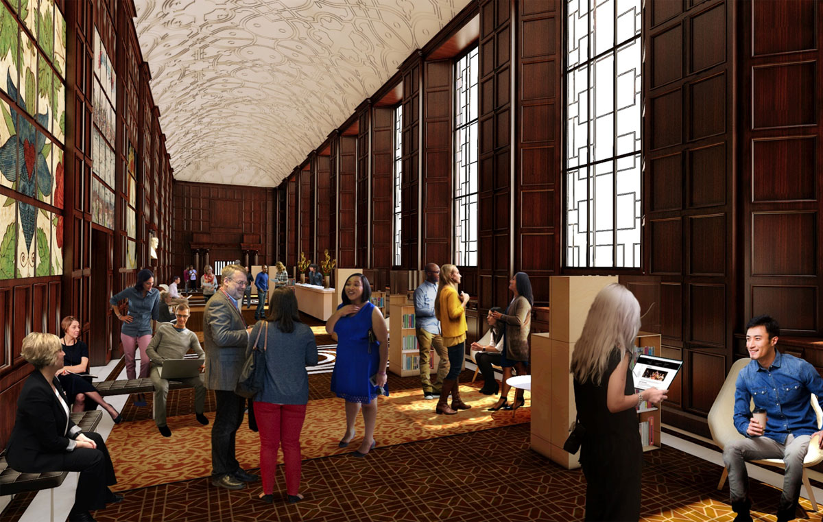 Rendering of the Great Hall with people sitting, talking, and eating