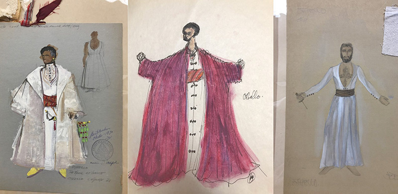 Three costume designs from the Earle Hyman Collection