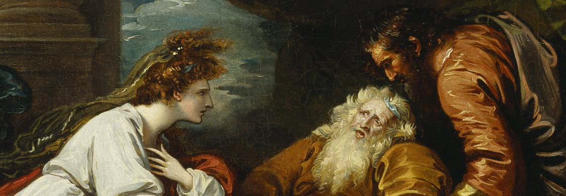 King Lear and Cordelia. Painting by Benjamin West, 1793.