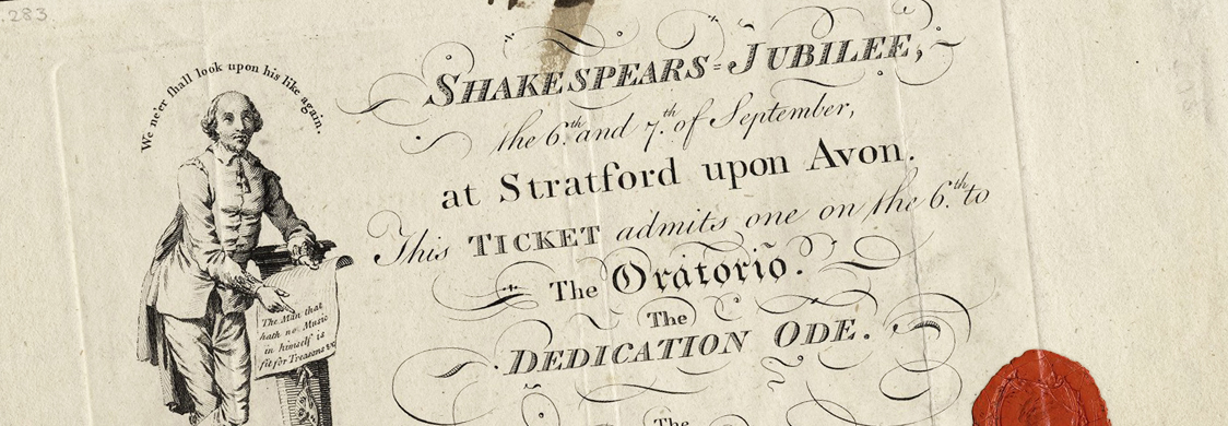 Ticket to Shakespeare's Jubilee signed by George Garrick. Folger Shakespeare Library Y.d.283, no. 362.