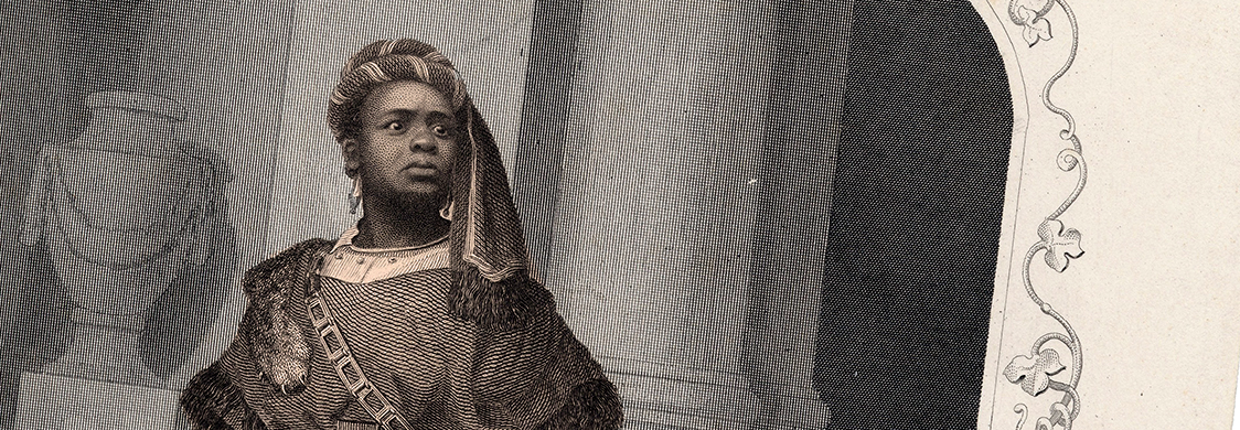 Mid-19th-century engraving of Ira Aldridge as Aaron in Titus Andronicus.