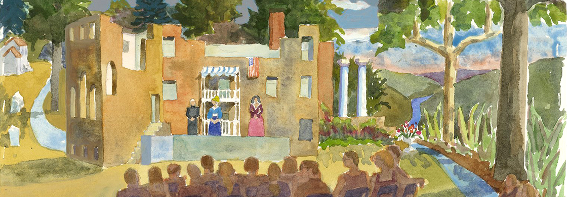 Watercolor painting of an audience watching a performance outdoors.