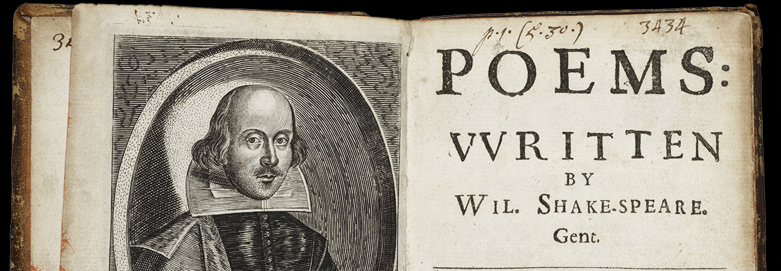 Title page and portrait of Shakespeare from a 1640 edition of Shakespeare's sonnets, Poems: Written by Wil. Shake-speare. Gent. Folger STC 22344 copy 1.