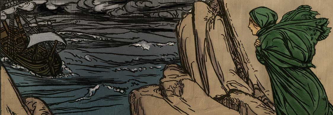 Miranda watches a ship in a stormy sea in a pen and ink illustration of Shakespeares Tempest. Folger Shakespeare Library.