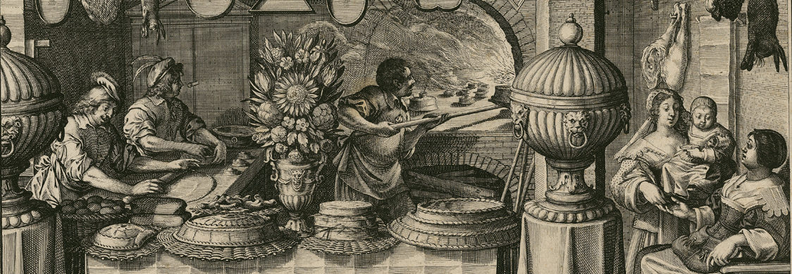 "The Pastry Chef, an engraving from the series known as ""Les Metiers."" Shows the interior of a large kitchen, with chefs at work"