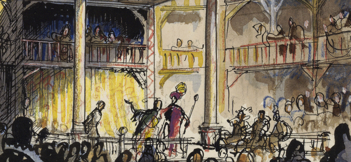 Actors perform onstage at the Globe in an itchy-scratchy pen-and-watercolor sketch by illustrator C. Walter Hodges.