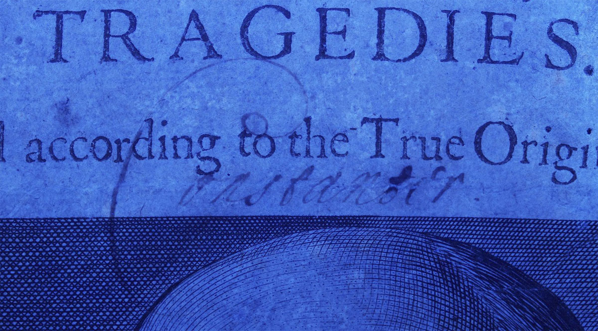 Ultraviolet imaging of the title page of Folger First Folio 75
