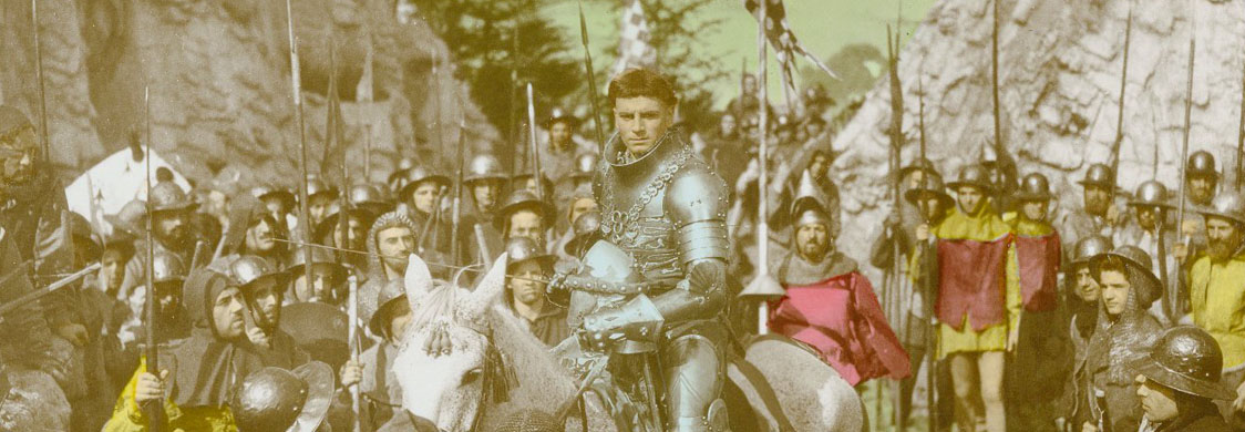 Photograph from Laurence Olivier's movie of Henry V: Olivier as Henry V