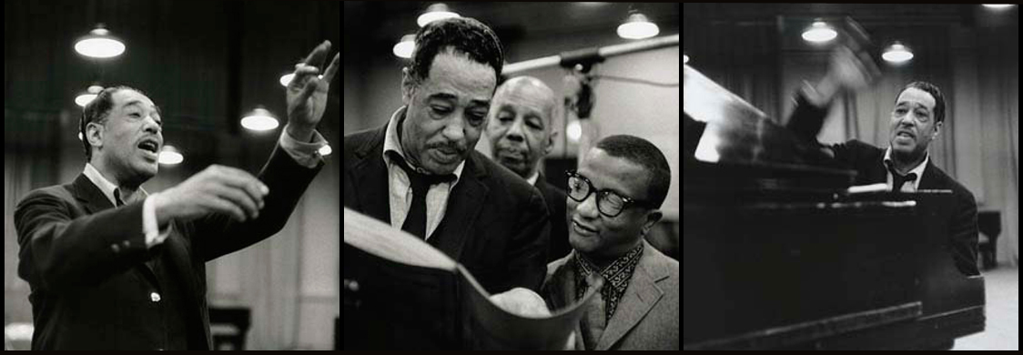"Duke Ellington recording ""Such Sweet Thunder:"" conducting, examining the score with Billy Strayhorn, and at the piano. Photos by Don Hunstein."