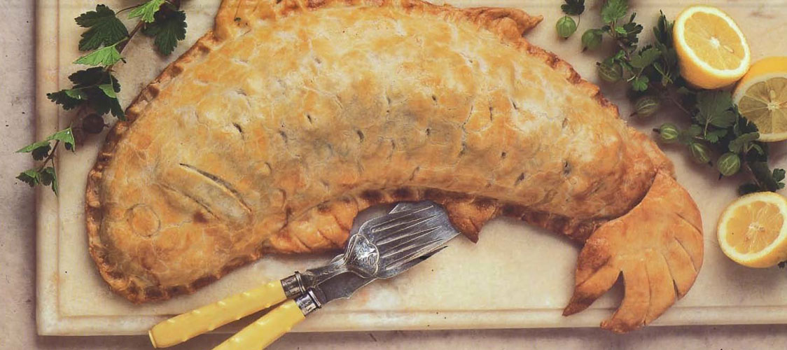 Salmon pie recipe from Shakespeare's Kitchen by Francine Segan
