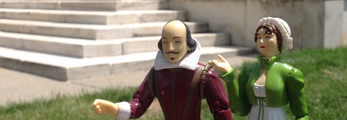 Shakespeare and Austen action figures stand in front of the Folger Library