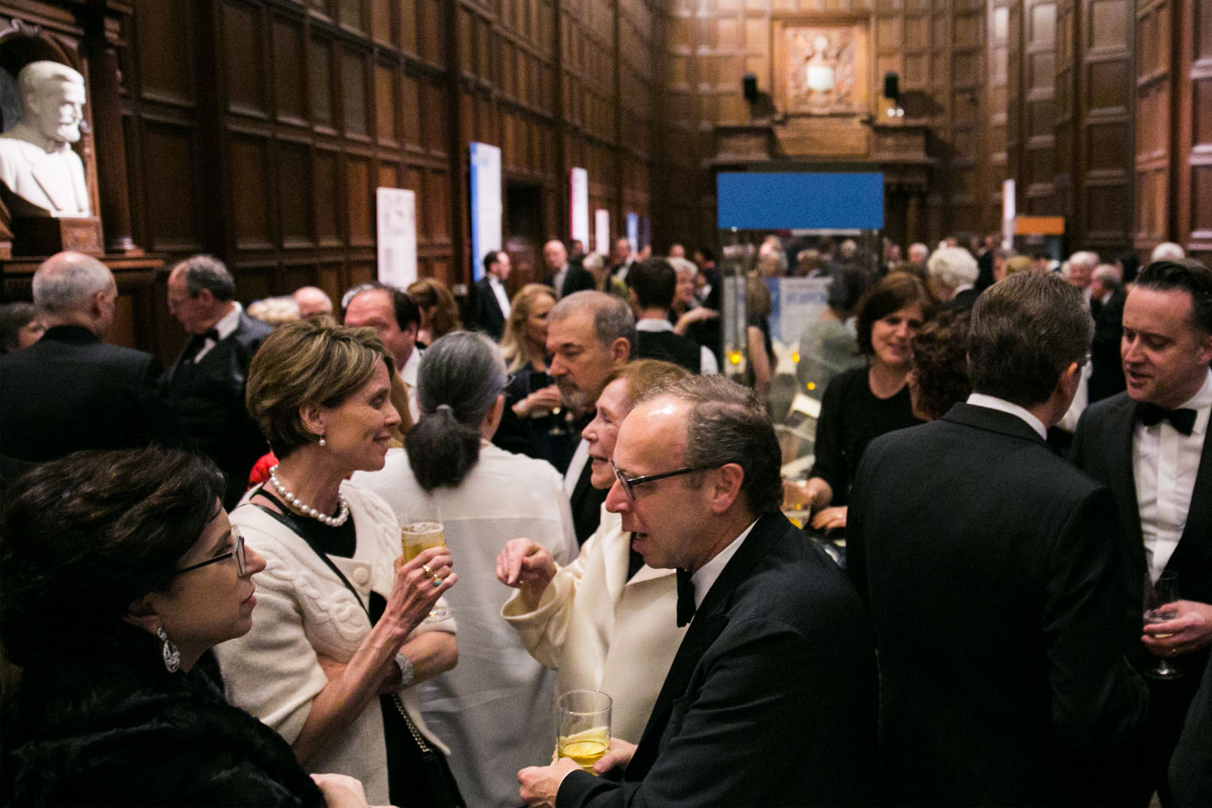 Folger Gala guests enjoying the reception in the Great Hall