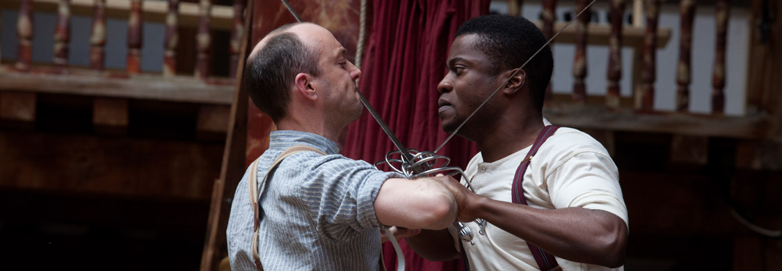 Tom Lawrence as Laertes and Ladi Emeruwa as Hamlet in the Globe's small-scale touring production of Hamlet, visiting every country on earth between 23 April 2014 and 23 April 2016. Photo by Bronwen Sharp.