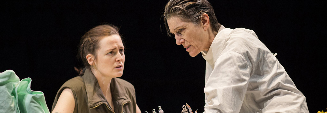 "Actors Clare Dunne (Prince Hal) and Harriet Walter (King Henry IV) in a scene from Phyllida Lloyd's production of Shakespeare's ""Henry IV"""